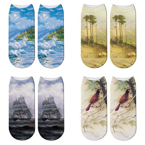 New 3D Printed Oil Painting Wave Beach Socks Summer Women Landscape Boat Bird Paint Kawaii Short Ankle Socks Calcetines Mujer