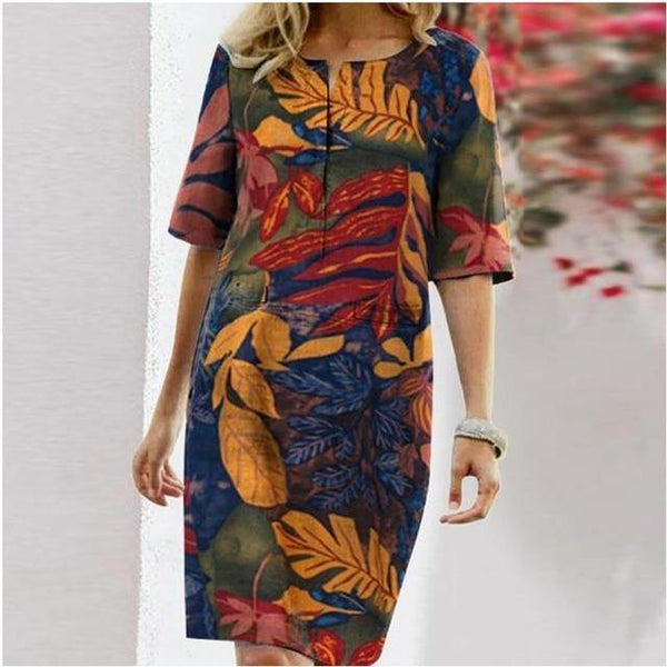 Fashion Cotton Linen Women Dress 2021 Spring Button O-Neck Printing Knee Party Dress Female Long Sleeve Dresses Plus Size 4XL