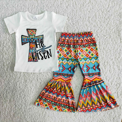 New Arrival Kids High Quality Spring Fall Outfits Girl Easter Day 2Pieces Set Toddlers CrossPrint Top And Bell Pants