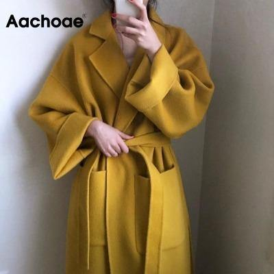 Aachoae Elegant Solid Long Wool Coat Women Batwing Long Sleeve Loose Pocket Coat Split Hem Chic Stylish Jacket Winter Autumn