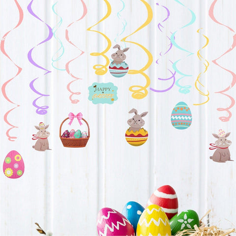 24PCS Easter Egg Bunny Basket Ceiling Wall Hanging Swirls Spiral Ornaments Set for Party Supplies easter decoration Home Decor