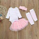 2020 Cute My 1st Easter Newborn Baby Girl Clothes Tops Bodysuit+ Tutu Skirt Outfits 4PCS 0-18M