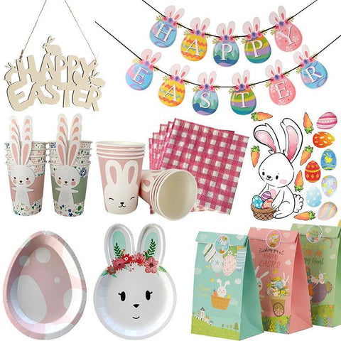 1pc Happy Easter Decoration Rabbit Bunny Egg Shape Banner Cup Plate Gift Bags Easter Party Deco Disposable Tableware Party Favor