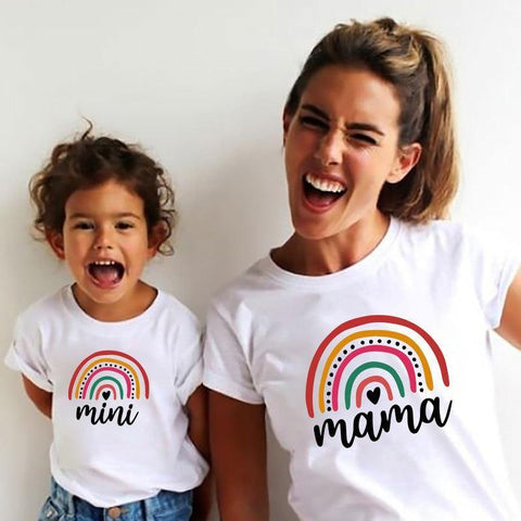 Rainbow Mother Daughter T-shirts Summer Family Matching Outfits Mom Baby Mommy and Me Tee-shirt Clothes Woman Girls Cotton Tops