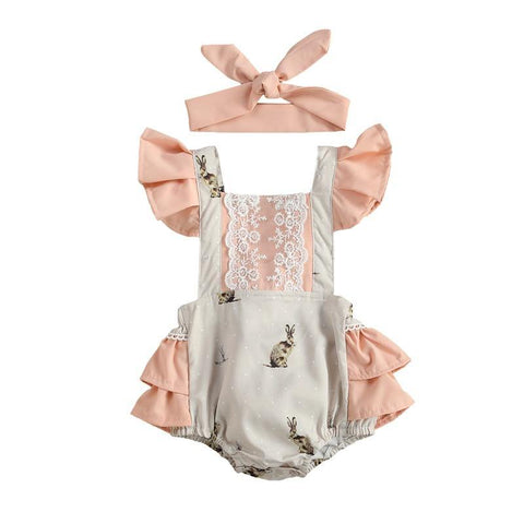0-24M Summer Lovely Baby Girls Bodysuits Easter Rabbit Print Lace Ruffles Short Sleeve Backless Jumpsuits  Easter Day Clothing
