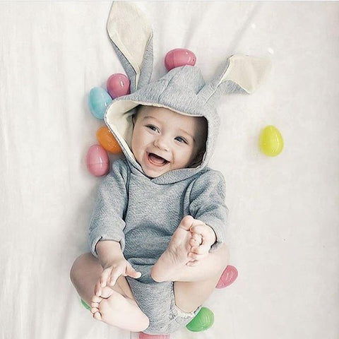 Baby Girl Long Sleeve Bunny Hooded Boy Romper Newborn Outfit Kids Bodysuit Kid Easter Warm Cotton Outfits