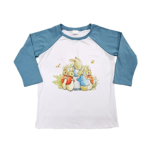 kids boutique clothing boy raglan shirt with rabbit pattern boy Easter Day top