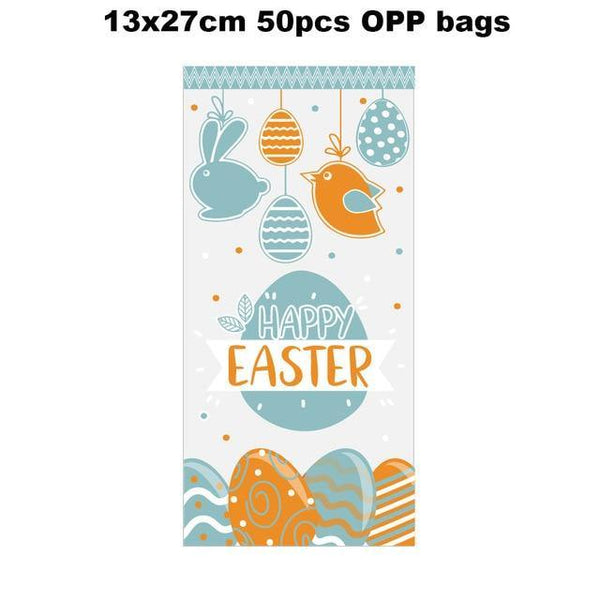 12pcs Easter Gift Bags With Stickers Cute Rabbit Food Cookies Packaging Candy Kraft Paper Boxes Happy Easter Party Decoration