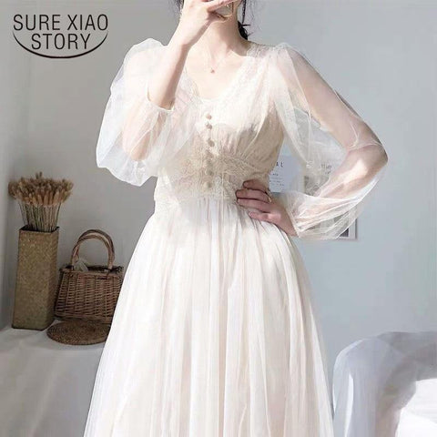 2021 Women Spring Dress Vintage Elegant with Button A-Line Dress Solid Puff Sleeve Lace Voile Mesh Dress Women Vestidos 8126