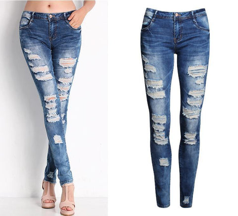 Ladies Cotton Denim Pants Stretch Womens Bleach Ripped Skinny Jeans Denim Jeans For Female