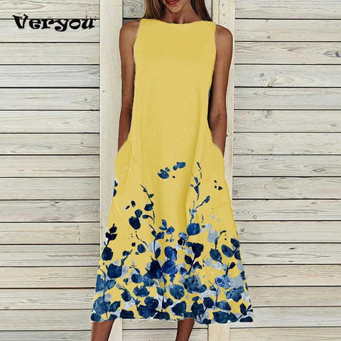 2021 Spring Summer Floral Print Party Dress Women Round Neck Sleeveless A-Line Dress Casual Loose Pocket Long Sexy Dress