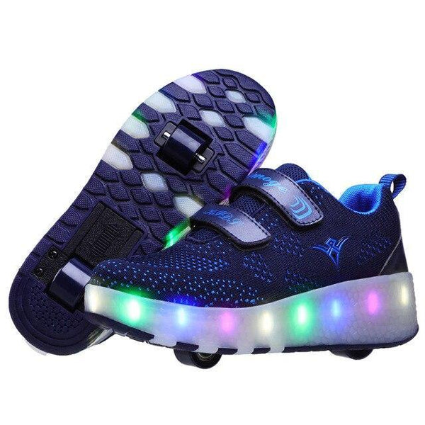 Size 27-40 Glowing Sneakers with Wheels USB Charging Basket Led Children Shoes With Light Up Kids Casual Shoes Luminous Sneakers