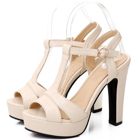 Plus Size 34-43  Summer Women Sandals Fashion High Heels Sandal Sexy Gladiator T-strap Platform Party Dress Shoes Woman