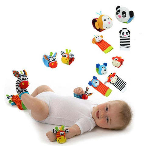 Sozzy Baby Boys Girls Toy Baby Rattle Animal Foot Finder Socks Wrist Strap Soft Children Infant Newborn Plush Sock