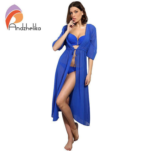 5483c3afe4 Andzhelika Swimsuit Cover Up Women Sexy Beach Cover-Ups Chiffon Long Dress  Solid Beach Cardigan