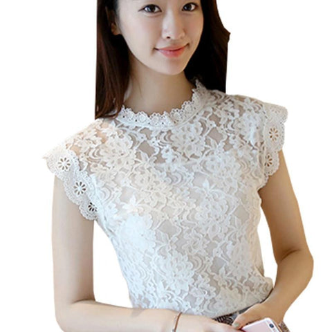 Lace Blouse Shirt Women Summer Style Blouses  New Korean Sleeveless Solid Hollow Out Pink Blue White Black Lace Top Female