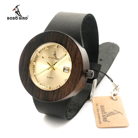 BOBO BIRD Brand Men and Women Wood Watch with Genuine Leather Strap Calendar Display Role Men Relogio Masculino Watches