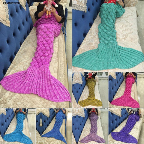 CAMMITEVER Mermaid Blanket Mermaid Tail Wool For Sofa Cover New Style Trend Adult Children Relax Sleeping Nap Colorful Blankets