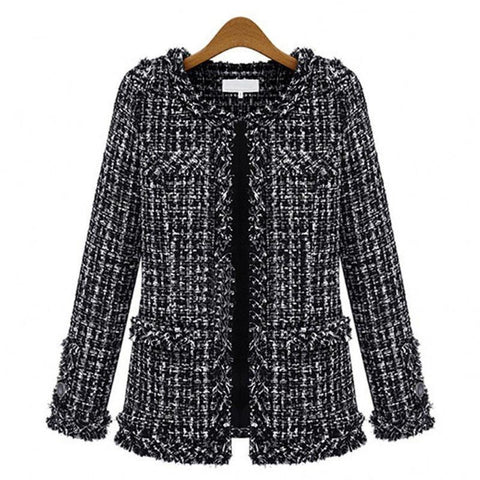 Autumn winter  women jacket Slim thin  checkered Tweed coat Large size casual O-Neck Plaid Jacket with pocket loose outwear
