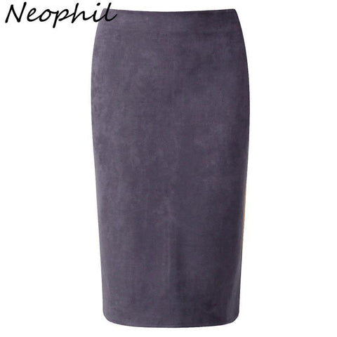 Neophil  Winter Gray Pink Women Suede Midi Pencil Skirts Causal High Waist Sexy Stretch Ladies Office Work Wear Saia S1009