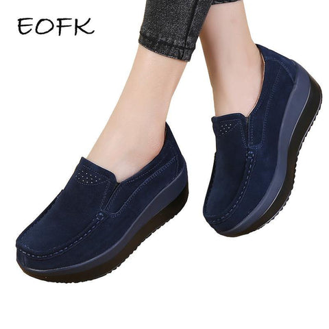 EOFK Women Flat Platform Loafers Ladies Elegant Suede Leather Moccasins Shoes Woman Slip On Moccasin Women's blue Casual Shoes
