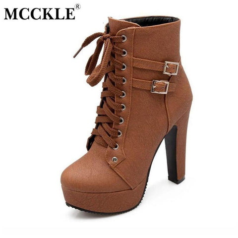 MCCKLE Spring Autumn Women Ankle Boots Female High Heels Lace Up Leather Shoes Woman Double Buckle Platform Fashion Shoes