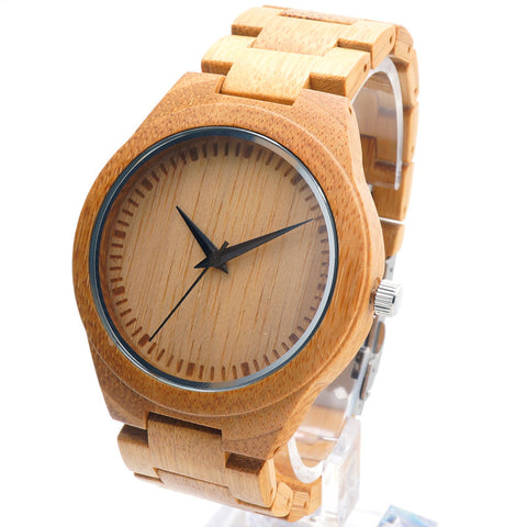 BOBO BIRD D19  Men Wood Wristwatch Classic Folding Clasp Quarzt Movement Wrist Watch with Bamboo Strap