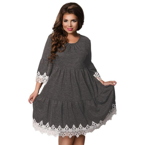 Autumn Winter Women Patchwork Dresses  Plus Size women Clothing Female Dress Elegant Hollow Out vestidos 5XL 6XL