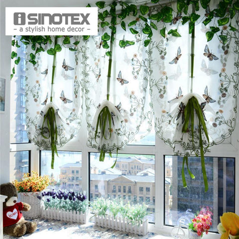 Pastoral Tulle Window Roman Curtain Embroidered Sheer For Kitchen Living Room Bedroom Window Curtain Screening Butterfly