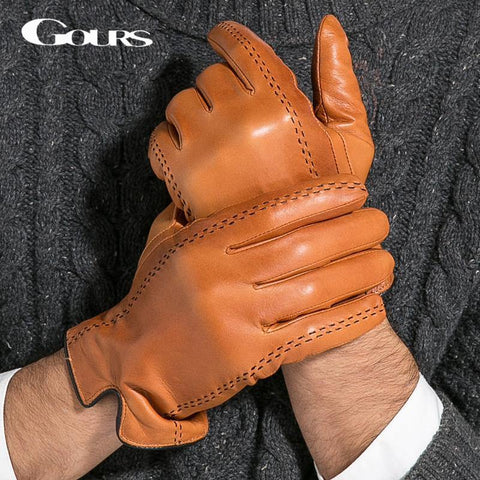 Gours Winter Men's Genuine Leather Gloves  New Brand Touch Screen Gloves Fashion Warm Black Gloves Goatskin Mittens GSM012