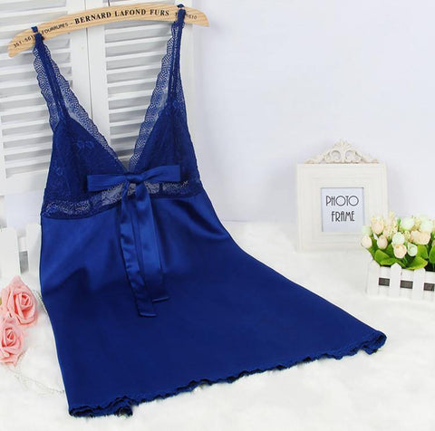 Ladies Sexy Silk Satin Nightgown Sleeveless Nightdress Plus Size Sleep Dress Lace Nighties V-neck Sleepwear Nightwear For Women