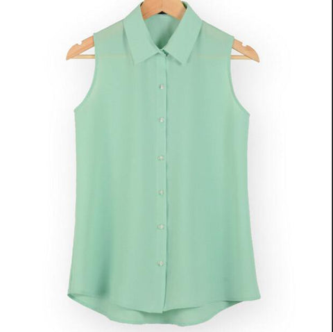 New fashion work wear office tops blouses Summer turn down sleeveless women chiffon shirt slim shirts colors female camisa vest