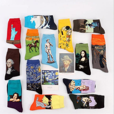 Fashion Art  Cotton Crew Socks  Painting Character Pattern for Women Men Harajuku Design Sox Calcetines Van Gogh