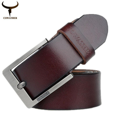 COWATHER  Newest designer belts men  cow genuine leather vintage pin buckle ceinture mens belts luxury XF003-4