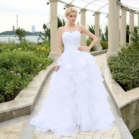 Stock vestidos de noiva A-line Ivory/White Ruffles Beading Sweetheart Organza Wedding Dress Bridal Gowns wedding dresses