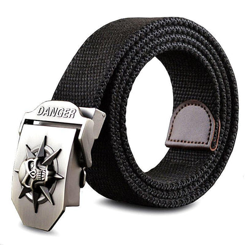 Men's Canvas belt skull Metal tactics woven belt canvas belt Casual pants Cool wild gift for men belts Skull large size