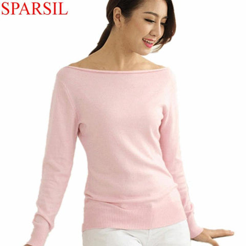 Sparsil Women Winter Cashmere Blend Sweater Knitted Sweaters Long Sleeve Pullovers Female Slash Neck Sweater