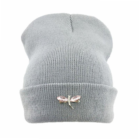 Dragonfly Crystal Accessory Beanie Hat For Women, Hip Hop Cute Hats Winter Caps Female Beanies bonnet femme gorros Sport gorras