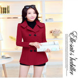 Women's Woolen Coats  Winter Trench Coats Solid Plus Size Overcoat Double Breasted Turn-down Collar Slim Outerwear C8103