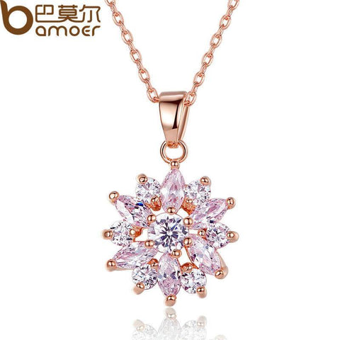 BAMOER  18K Real Gold Plated Flower Necklaces Pendants with  Cubic Zircon For Women Birthday Gift JIN024