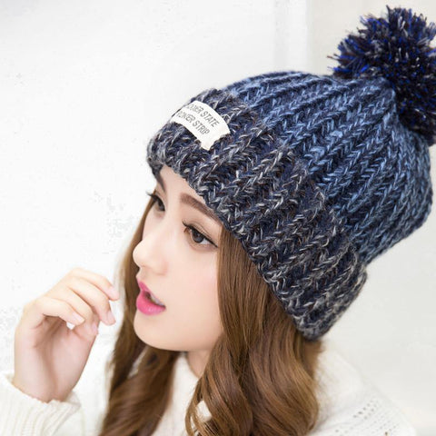 Woman's Warm Woolen Winter Hats Knitted Fur Cap For Woman Sooner State Letter Skullies & Beanies 6 Color Gorros