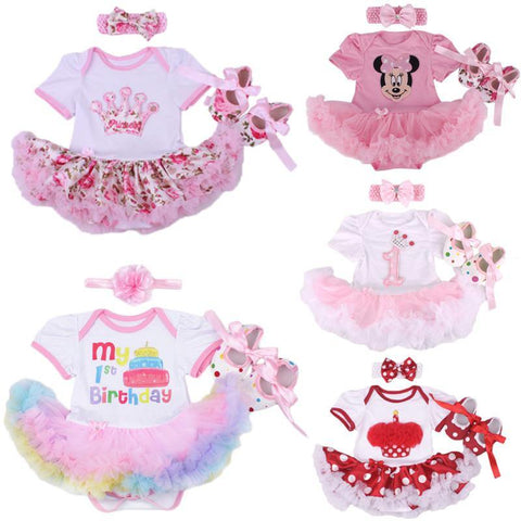 Christmas Baby Girl Infant 3pcs Clothing Sets Suit Princess Tutu Romper Dress/Jumpsuit Xmas Bebe Party Birthday Costumes Vestido