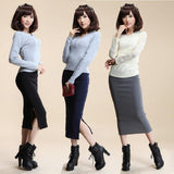 Autumn Winter Women Skirt Wool Rib Knit Long Skirt Faldas Package Hip Split Skirts  A919