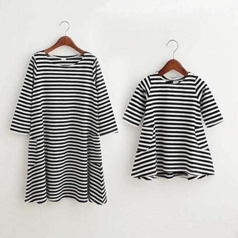 Family Dress Mother Daughter Summer Long Sleeve Striped Family Look Matching Clothes Mom And Daughter Dress Family Clothing
