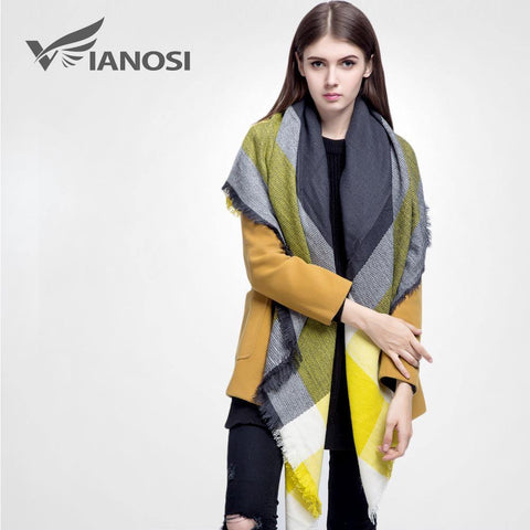 [VIANOSI]  plaid scarf women Thicken Soft Winter scarf Fashion Shawls and Scarves DS033