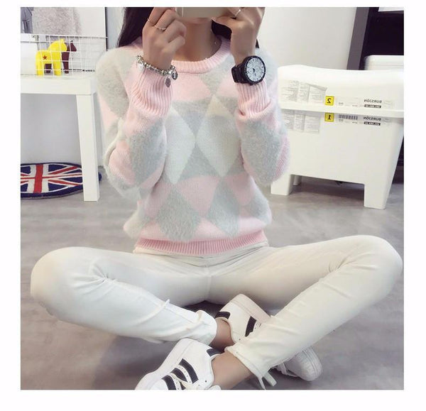 Female Pullovers Winter Sweater Fashion Women Spring Autumn Pullover Long Sleeve Plaid Casual Ladies Sweaters