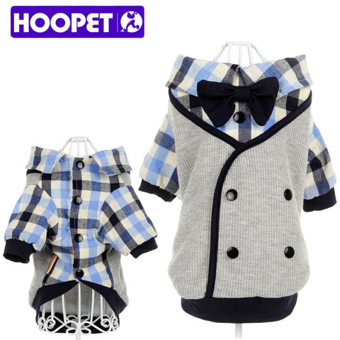HOOPET pet clothes Soft Casual  Plaid Shirt Gentle Dog Western Shirt  Clothes Dog Shirt + Wedding Tie