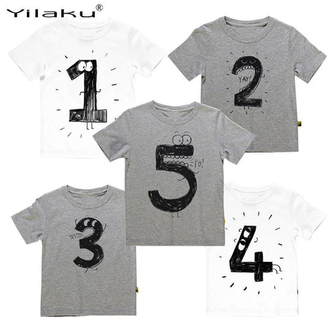 Number Letter Boys Print T shirt For Kids Summer T-shirts Baby Boy Funny Birthday T-shirts Kids Boys Casual Tops CG052