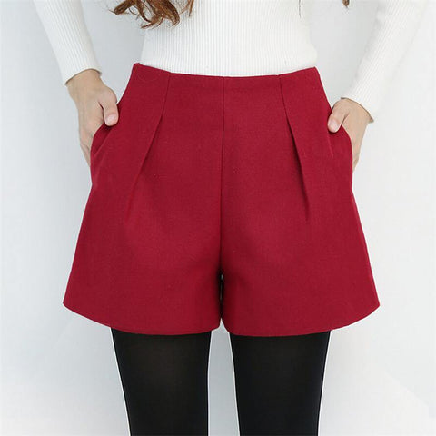 Women Wool Short High Waist Fashion Casual Candy Color Shorts Winter Style Harajuku Loose Boots Shorts Plus Size