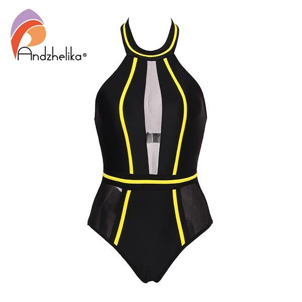 Andzhelika  One-Piece Swimsuit Mesh Patchwork Swimwear Strapless Girl Backless Bodysuit Summer Bathing Suit Monokini AK75064